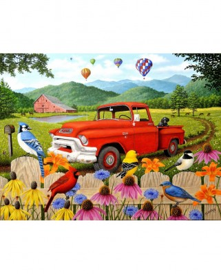Puzzle SunsOut - Robert Wavra: The Red Truck, 500 piese (Sunsout-51304)