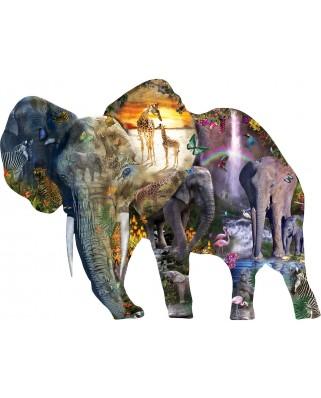 Puzzle contur SunsOut - Alixandra Mullins: Elephant Waterfall, 1000 piese (Sunsout-95015)