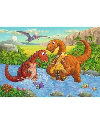 Puzzle Ravensburger - Dinozauri La Rau, 2x24 piese (05030)