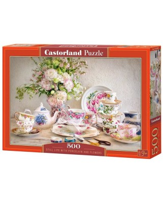 Puzzle Castorland - Still Life with Porcelain and Flowers, 500 piese (53384)