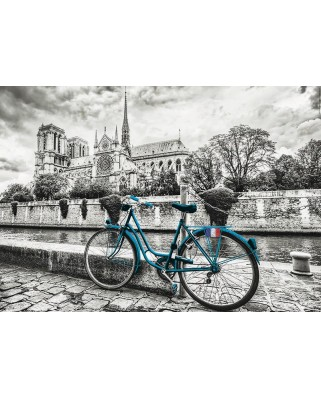 Puzzle Educa - Bike Near Notre Dame Coloured B&W, 500 piese (18482)