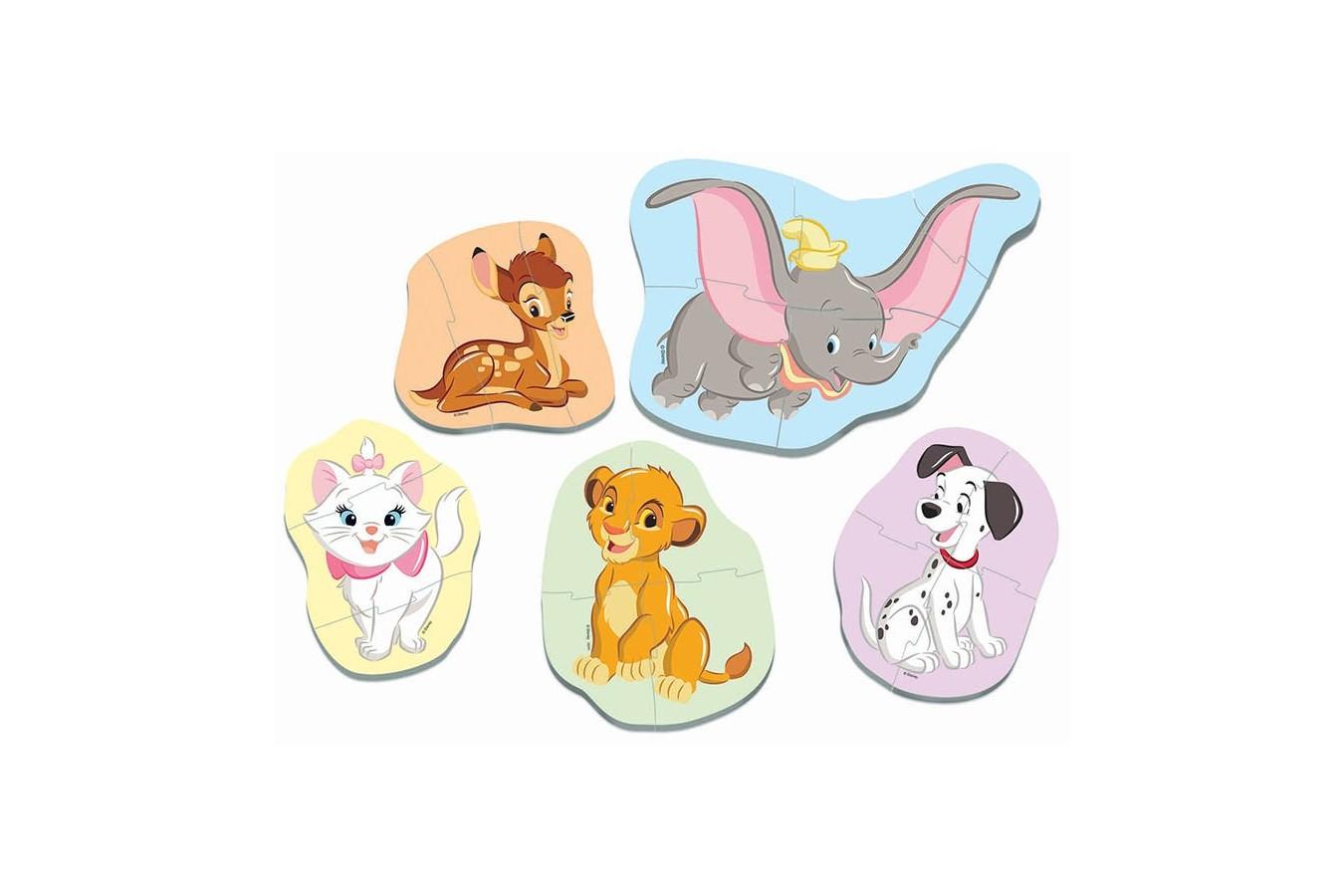 Puzzle Educa - Baby Disney Animals, 3/3/4/4/5 piese (18591)