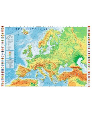 Puzzle Trefl - Europe Physical Map, 1000 piese (10605)