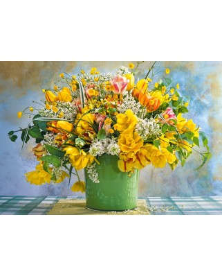 Puzzle Castorland - Spring flowers in green vase, 1000 piese (104567)