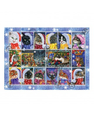 Puzzle Anatolian - Christmas Cat Stamps, 1.000 piese (1103)