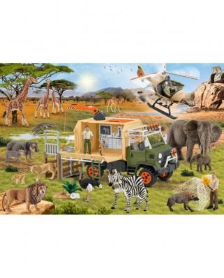 Puzzle Schmidt - Schleich Animal Rescue, 60 piese, contine figurina Schleich (56384)
