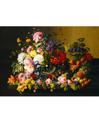 Puzzle Bluebird - Severin Roesen: Still Life, Flowers and Fruit, 1855, 1000 piese (60030)