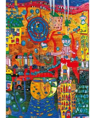 Puzzle Bluebird - Friedensreich Hundertwasser: The 30 Days Fax Painting, 1996, 1.000 piese (60064)