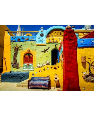 Puzzle Bluebird - Colorful African Village, 1500 piese (70435)
