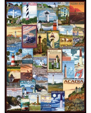 Puzzle Eurographics - Lighthouses Vintage Posters, 1.000 piese (6000-0779)