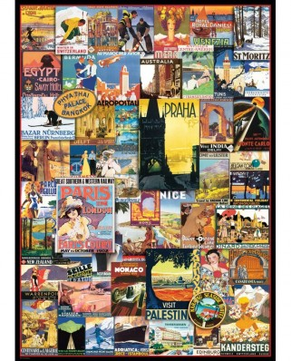 Puzzle Eurographics - Travel around the World - Vintage Posters, 1.000 piese (6000-0755)