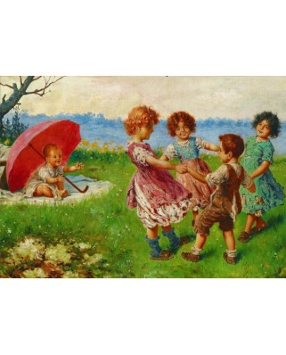 Puzzle Gold Puzzle - Federico Olivia: Playing Children, 500 piese (Gold-Puzzle-60676)
