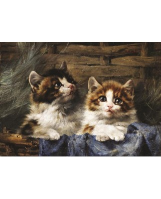Puzzle Gold Puzzle - Julius Adam: Two Kittens in a Basket, 500 piese (Gold-Puzzle-60683)