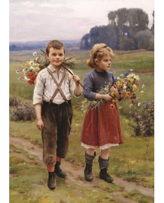 Puzzle Gold Puzzle - Cesar Pattein: Children on a Country Road, 500 piese (Gold-Puzzle-60720)