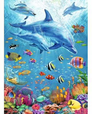 Puzzle Ravensburger - Delfini Si Pesti, 100 piese XXL (12889)