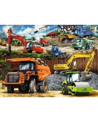 Puzzle Ravensburger - Vehicule De Constructii, 100 piese XXL (12973)