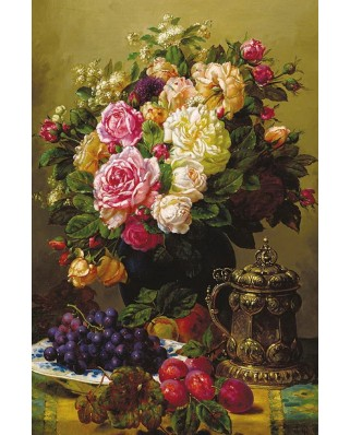 Puzzle Gold Puzzle - Jean-Baptiste Robie: Still Life with Roses, Grapes and Plums, 1000 piese (Gold-Puzzle-60904)