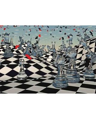 Puzzle Gold Puzzle - Fantasy Chess, 1.000 piese alb-negru (Gold-Puzzle-61413)