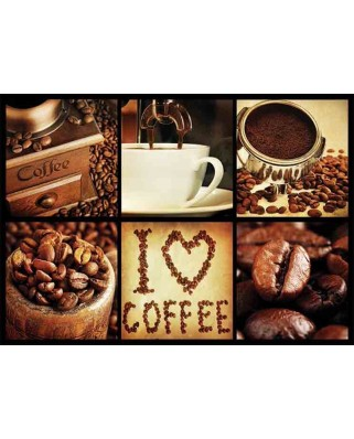Puzzle Gold Puzzle - I Love Coffee, 1000 piese (Gold-Puzzle-61550)