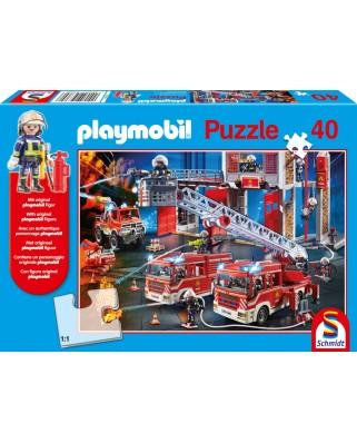 Puzzle Schmidt - Pompieri, 40 piese, include figurina Playmobil (56380)