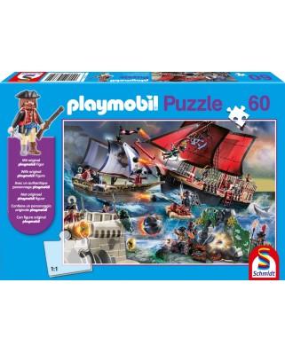 Puzzle Schmidt - Piratii, 60 piese, include figurina Playmobil (56382)