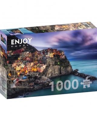 Puzzle 1000 piese - Manarola at Dusk, Cinque Terre, Italy (Enjoy-1077)