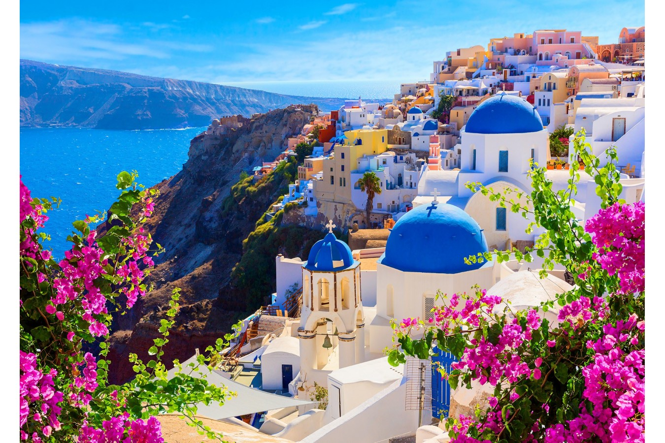 Puzzle 1000 piese - Santorini View with Flowers, Greece (Enjoy-1083)