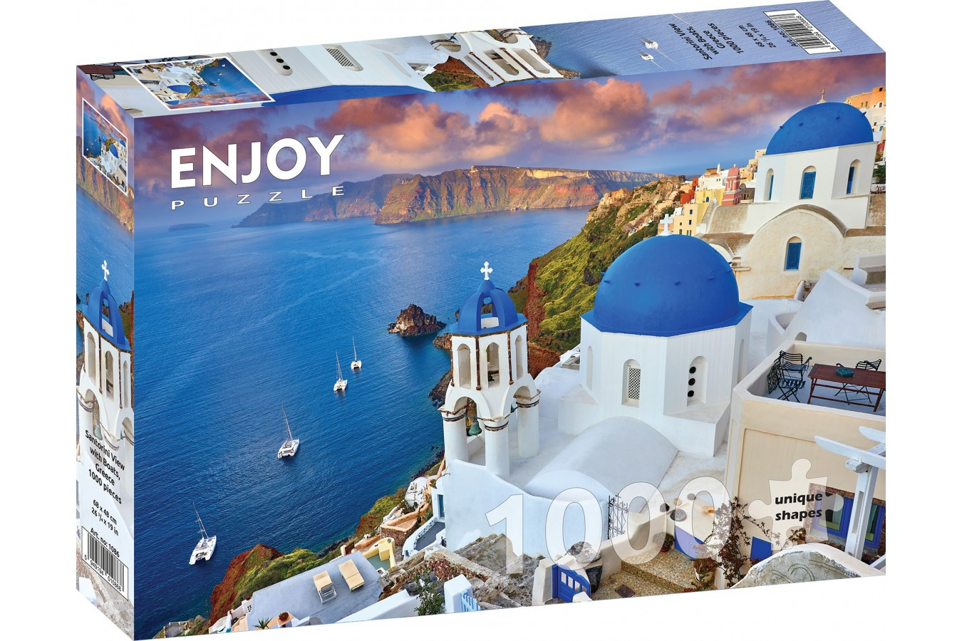 Puzzle 1000 piese - Santorini View with Boats, Greece (Enjoy-1086)