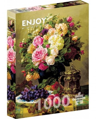 Puzzle 1000 piese - Jean-Baptiste Robie: Still Life with Roses (Enjoy-1107)