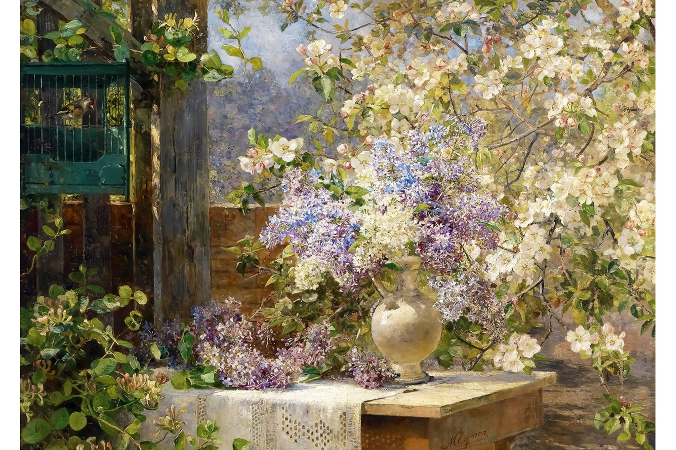 Puzzle 1000 piese - Marie Egner: In the Blossoming Bower (Enjoy-1134)