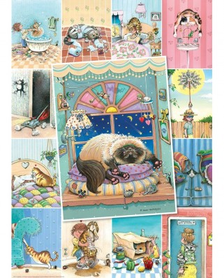 Puzzle 500 piese XXL - Gary Patterson: Cat's Life (Eurographics-6500-5366)