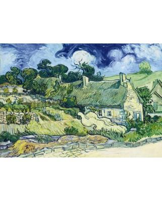 Puzzle 1000 piese - Vincent Van Gogh: Thatched Cottages at Cordeville, 1890 (Bluebird-60113)