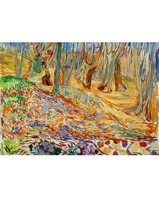 Puzzle 1000 piese - Edvard Munch: Elm Forrest in Spring, 1923 (Bluebird-60130)