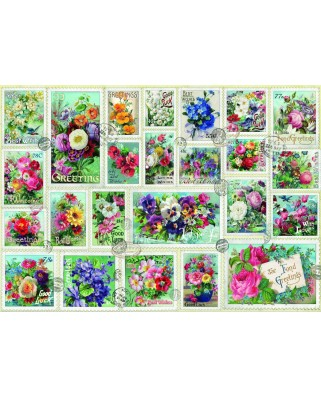 Puzzle 2000 piese - Stamp Flower Collection (Bluebird-70472)