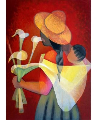 Puzzle 1000 piese - Toffoli Louis: La Vendeuse d'Arums, 1996 (Art-by-Bluebird-60136)