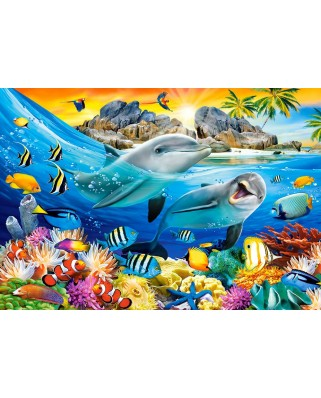 Puzzle 1000 piese - Dolphins in the Tropics (Castorland-104611)