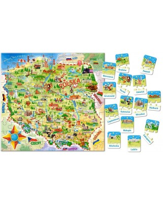 Puzzle 28/100 piese - Map of Poland (Castorland-142)