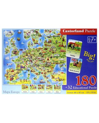Puzzle 32/180 piese - Europe Map (Castorland-227)