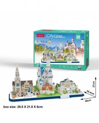 Puzzle 3D cu 178 piese - Cityline - Bavaria (Cubic-Fun-MC267H)