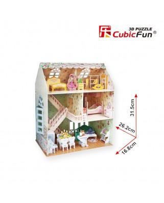 Puzzle 3D cu 160 piese - Dreamy Dollhouse - Difficulty 4/8 (Cubic-Fun-P645H)