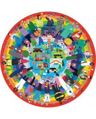Puzzle 500 piese rotund - Rainbow Heroes in aid of Samaritans (Gibsons-G3701)