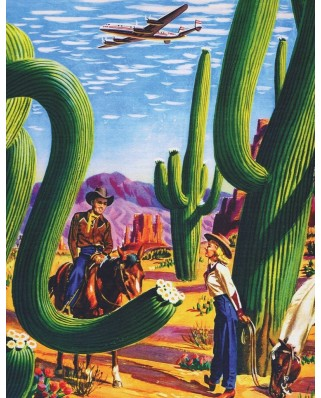 Puzzle 100 piese mini - Cactus Country - American Airlines Poster Mini (New-York-Puzzle-AA1701)