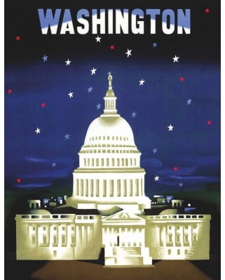 Puzzle 100 piese mini - The Capitol - American Airlines Poster (New-York-Puzzle-AA1702)