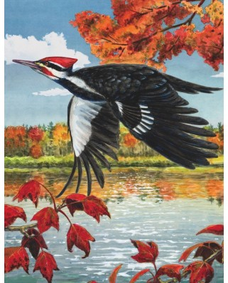 Puzzle 100 piese mini din lemn - Pileated Woodpecker (New-York-Puzzle-CB1858)