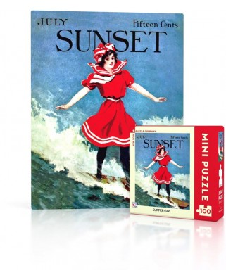 Puzzle 100 piese mini - Sunset - Surfer Girl (New-York-Puzzle-SU2010)