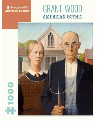 Puzzle 1000 piese - Wood Grant: American Gothic (Pomegranate-AA1081)
