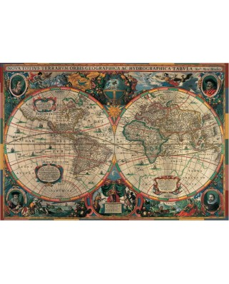 Puzzle 1000 piese - Henricus Hondius: Ancient Map of the World (Pomegranate-AA603)