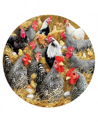 Puzzle 1000 piese rotund - Chickens and Chicks (Sunsout-35138)