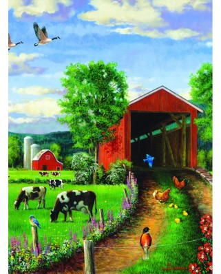 Puzzle 500 piese - Chickens at the Bridge (Sunsout-37202)