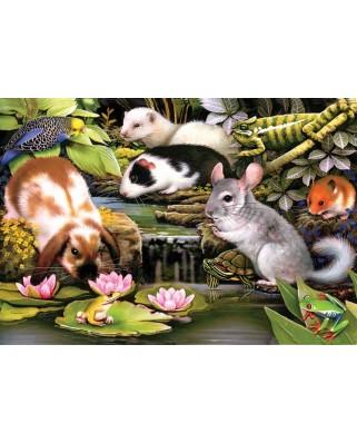 Puzzle 100 piese - Poolside Pets (Sunsout-59309)